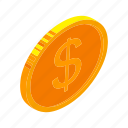coin, dollar, financefinancial, gold, isometric, money, multimedia icon