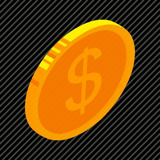 coin, dollar, financefinancial, gold, isometric, money, multimedia icon