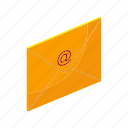 email, envelope, isometric, letter, mail, multimedia, send