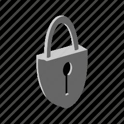 isometric, key, lock, multimedia, pad lock, privacy, security icon