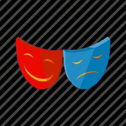 face, happy, isometric, multimedia, profile, sad, theatre icon