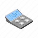 calculate, calculator, isometric, math, multimedia, number, technology icon