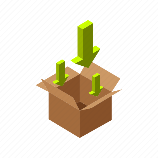 box, delivery, inbox, isometric, multimedia, order, package icon