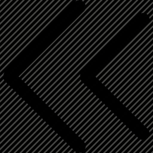 arrow, arrows, direction, down, left, navigation, previous icon