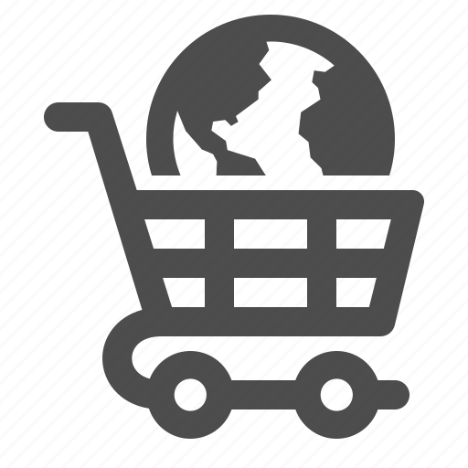 earth, globe, shopping, shopping cart icon