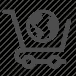 earth, globe, shopping, shopping cart, worldwide icon