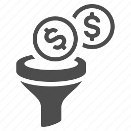budget, coins, filter, funnel, money icon