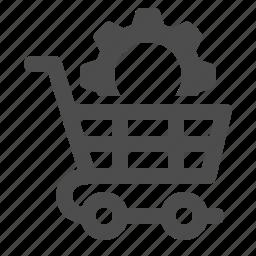 cog, gear, optimise, shopping cart, sprocket icon