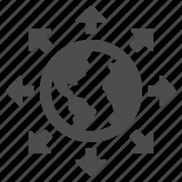 arrows, communication, earth, globe icon