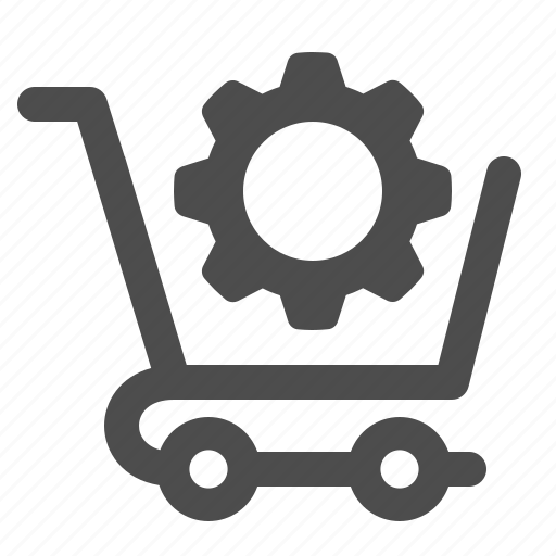cog, gear, optimise, shopping cart, sprocket icon