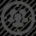 aim, aiming, group, marketing, men, target icon