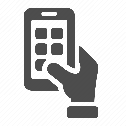 apps, hand, mobile phone, phone, smartphone, touchscreen icon