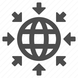 arrows, communication, globe, network, web icon