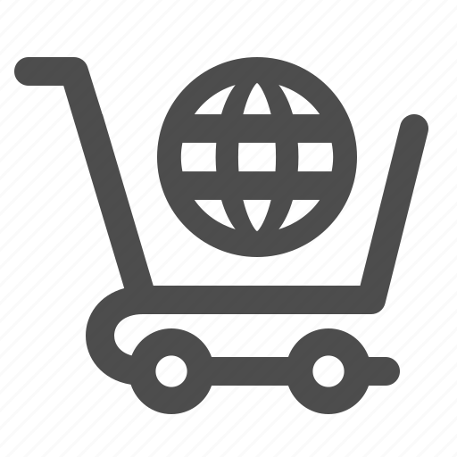 globe, network, shopping cart, web icon