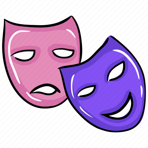 carnival mask, circus mask, comedy mask, face mask, props, theatre mask icon