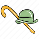 cane stick, hat with cane, hipster style, hispert hat, stick with hat, top hat icon