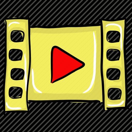 cinema, film strip, movie strip, video film, video player icon