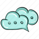 chat bubbles, cloud bubbles, cloud chat, cloud conversation, cloud message icon