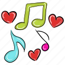 love melody, music, music note, musical notation, musical symbol, songs concept icon