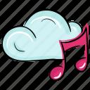 cloud computing, cloud music, cloud songs, music hosting, virtual music icon