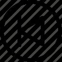 arrow, audio, back, first, left arrow, multimedia, previous