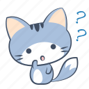 cat, doubt, emoji, question, sticker, uncertain, wonder