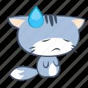 cat, emoji, sad, sorrow, sticker, sweat, unhappy