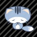 bow, cat, emoji, regret, respect, sorry, sticker icon