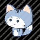 cat, doubt, emoji, sticker, thinking, uncertain, wonder icon