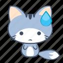 cat, emoji, sad, sticker, sweat, tired, unhappy