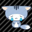 cat, cry, emoji, sad, sticker, tear, unhappy icon