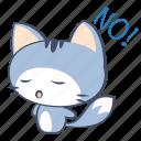 cat, decline, emoji, no, refuse, sticker, unwilling