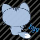 back, cat, emoji, goodbye, leaving, sticker, waving