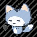 angry, cat, displeasure, emoji, mad, sticker, unhappy