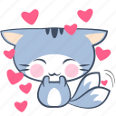 cat, emoji, happy, heart, love, smile, sticker