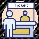 cash desk, front desk, paymaster, reception, ticket counter, ticket stall, workstation icon