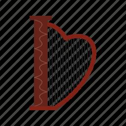 antique, art, harp, instrument, lyre, musical, shape icon