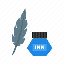 desk, feather, ink, old, pen, quill, writing icon