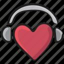heart headphones, love music, love songs, romantic music, romantic songs icon