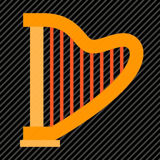 classic, harp, instrument, music, sound, string, stringed icon