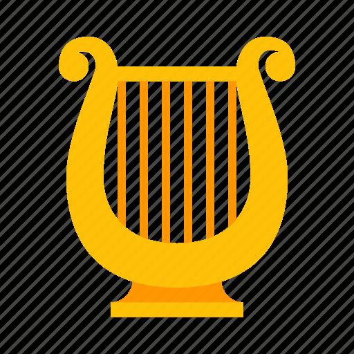 harp, instrument, lyre, music, sound, stringed icon