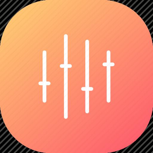 equaliser, music, noise, options, orange, record, sound icon