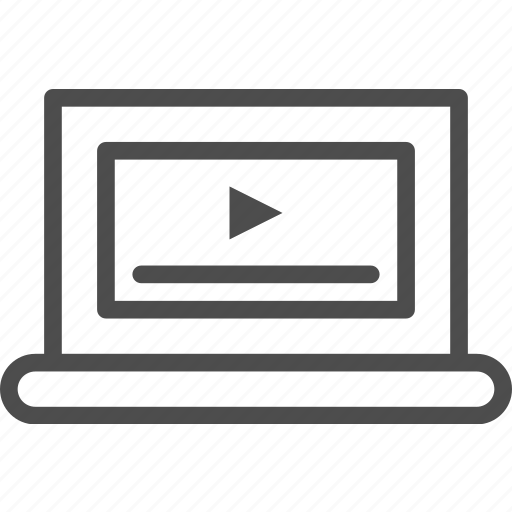 entertainment, laptop, music, player, video icon