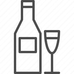 beverage, bottle, drink, glass, party, wine icon