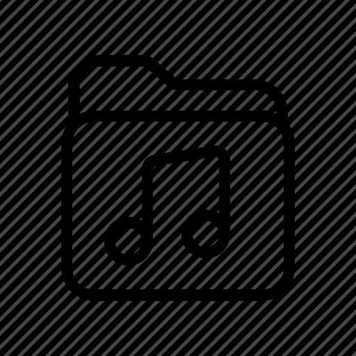 folder, line, music, note, sound, ui, web icon