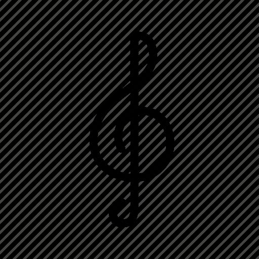 line, music, note, sound, treble clef, ui, web icon