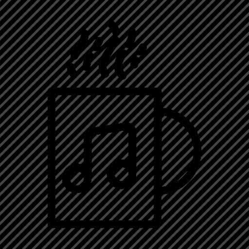 coffee, mug, music, note, relax, ui, web icon