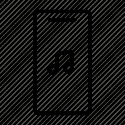 line, mobile phone, music, note, sound, ui, web icon
