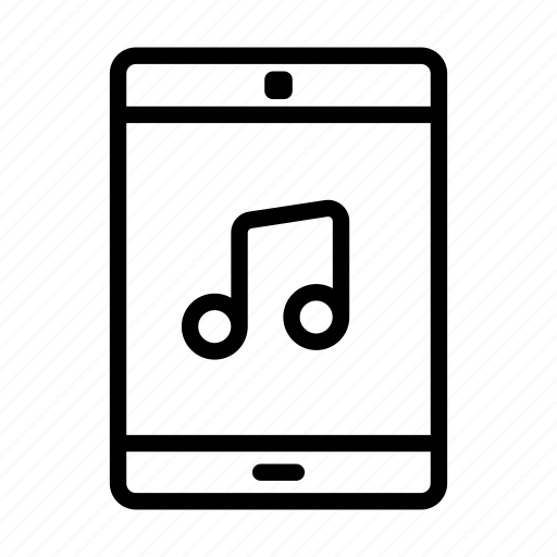 computer, line, mobile phone, music, note, sound, web icon