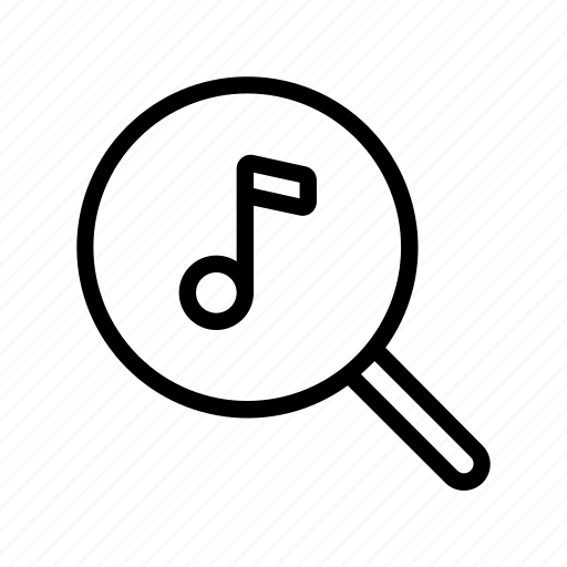 line, music, note, search, sound, ui, web icon